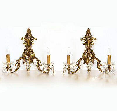 Antique Incredible Pair Brass 2 Arm Wall Sconces Figural Gorgeous