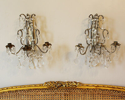 1920s Rare Pair Italian Beaded 3 Arm WALL SCONCES Pair INCREDIBLE Antique
