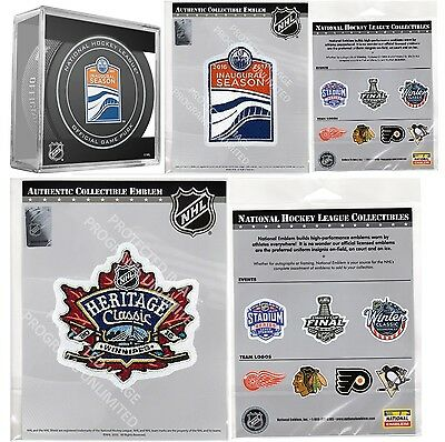 2016 Nhl Heritage Classic Edmonton Oilers Two Patch Set & Inaugural Season Puck