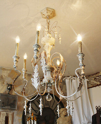 Gorgeous Swedish Aged White Wood & Tole Metal Crystal Xlrg Chandelier