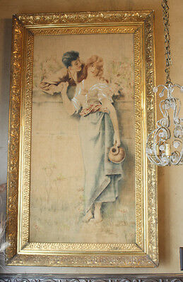 Xlrg Breathtaking Late 1800s Lovers Painting Original Water Gilt Frame Antique