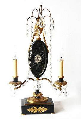 Antique Bronze Ormolu & Crystal Candelabra Girandole Lamp Table Chandelier
