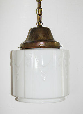 Old French School House Pendant Light Gorgeous Deco Opaline White Glass