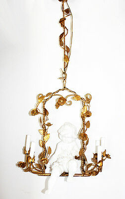 Rare Italian Gilt & Porcelain Cherub w/Swing ANTIQUE CHANDELIER Gorgeous
