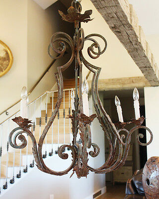 French Xlrg Antique Wrought Iron Chandelier