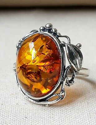 Ring 925 Sterling Silver 16 x 12 mm Cognac Genuine Baltic Amber
