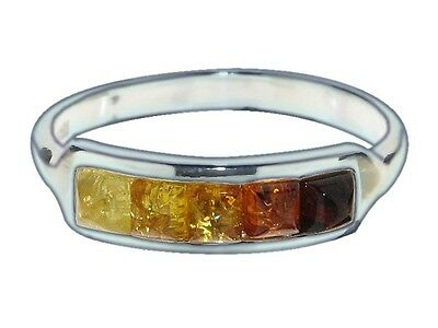 Ring 925 Sterling Silver Genuine Multi-Coloured Baltic Amber