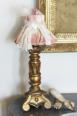 Antique Italian Florentine Lamp with Lingerie Custom Shade Shabby Chic