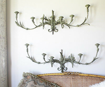 Vintage Wrought Iron Tole Xlarge Wall Sconces Antique Verdigreen