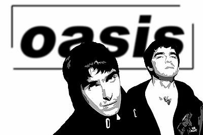 OASIS LIAM & NOEL GALLAGHER B&W Canvas Box or Poster Print Wall Art