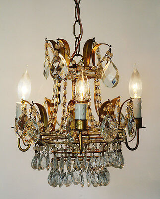 Incredible Italian Tole Macaroni Beaded Rare Crown Chandelier Antique