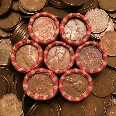 UNSEARCHED Wheat Cent Rolls - teens, twenties, steel & more!!!!!