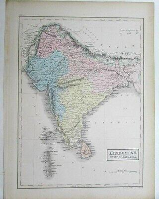 Hindustan Caubul India c.1850's S. Hall engraved antique map old hand color nice