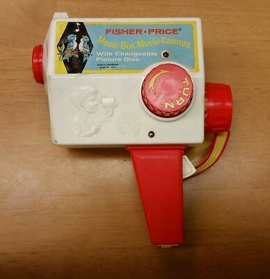 VINTAGE 1968 Fisher Price Music box Movie Camera with 4 changeable disks