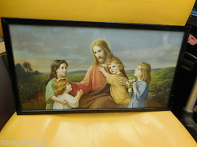 Vintage religious print 'Jesus' and the children Giovanni wooden frame