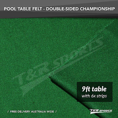 """CHAMPIONSHIP GREEN DOUBLE-SIDED WOOL POOL SNOOKER TABLE CLOTH/FELT 6xSRTIPS 9"""""""