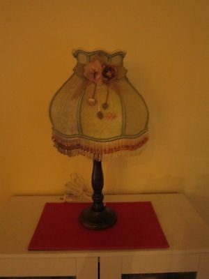 Stunning Vintage Style Timber Base Table Lamp With Beaded Shade