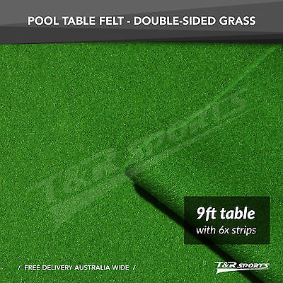 """Grass Green Double-Sided Wool Pool Snooker Table Cloth & 6 X Felt Strips 9"""""""