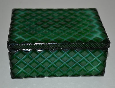 Czech Bohemian Art Deco Green Malachite Glass Jewelry Box