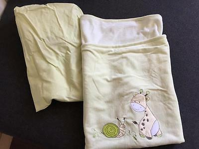 New LIVING TEXTILES BRAND 2 pce Baby Bassinet Set Fiteed sheet + Blanket Mint