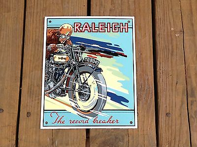 Raleigh Motorcycle Porcelain Sign The Record Breaker Cycle