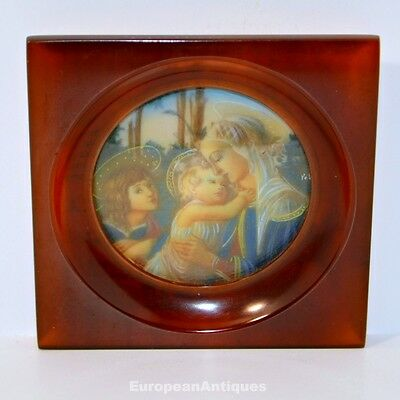 """Miniature Icon Of Madonna and Child Hand Painted in a Bakelite Frame 3.5"""" x 3.5"""""""