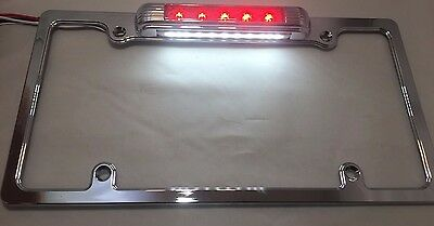 Red LED Chrome License Plate Frame w/ Third Brake Light Function (Red Lens)