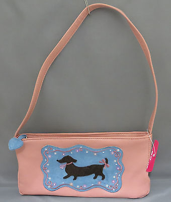 New Pink Dachshund Doxie Baguette Purse Handbag Faux Leather Applique Beaded