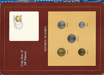 Coin Sets of All Nations Korea wcard UNC 1980-1983 10 Won 1980 1,50,100 Won 1982