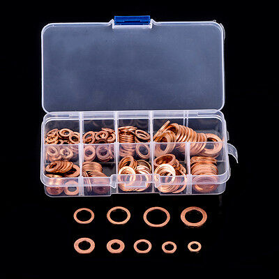 200pcs 9 Sizes Assorted Solid Copper Gasket Washers Seal Flat Ring Set with Box