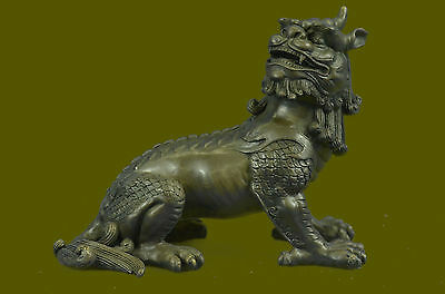 Handcrafted China Red Bronze Copper FengShui Palace Evil Dog Lion Figurin Ef