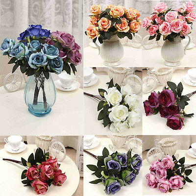 Rose Fake Artificial Silk Flower Wedding Party Bridal Bouquet Home Decor 7Heads