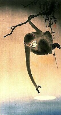 Japanese Monkey Reaching For the Moon Repro Woodblock Art Print Picture Painting