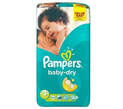 PAMPERS Baby Dry T3 (4-9 kg) Value Bag x 60 couches