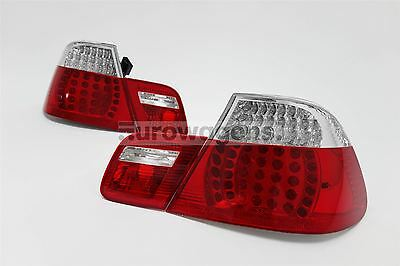 BMW 3 Series E46 98-02 Coupe LED Clear Red Rear Tail Lights Pair Set Left Right
