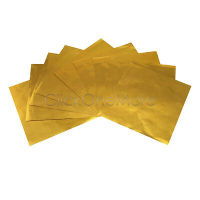 100 Pcs 80mm x 80mm Gold Foil Wrappers Pack for Chocolate Sweets Confectionery