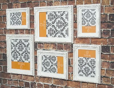 Job Lot 6 White Ornate Picture Photo Frames Shabby Wedding Displays Feature Wall