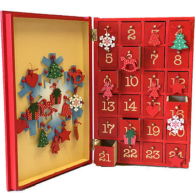 ADVENT CALENDAR BOOK Wooden Snowman Book LET IT SNOW 30cm Countdown Decoration