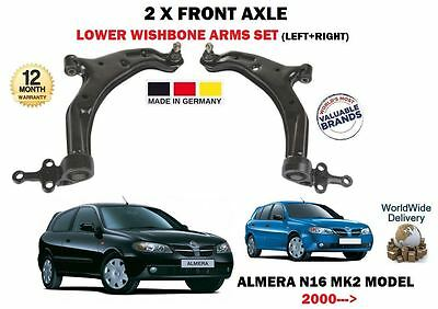 For Nissan Almera N16 2000-> 2 X Front Axle Left + Right Lower Wishbone Arms Set