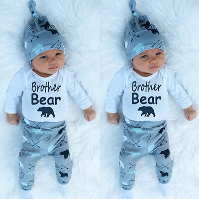 Cute Newborn Baby Boy Girls Brother Bear Clothes Romper Pants Hat Outfit 3PCS GN