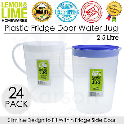 24 x Plastic Fridge Door Water Jugs & Lids Juice Squash Container Pitcher 2.5L