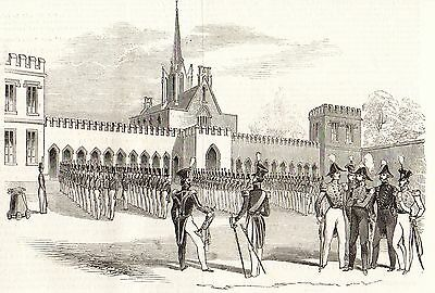 Antique Engraved Print, Woolwich Military Academy, Parade Of Cadets 1844