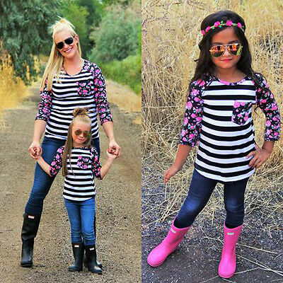 New Family Top Clothing Mother Daughter Floral Striped T-shirts Matching Outfit