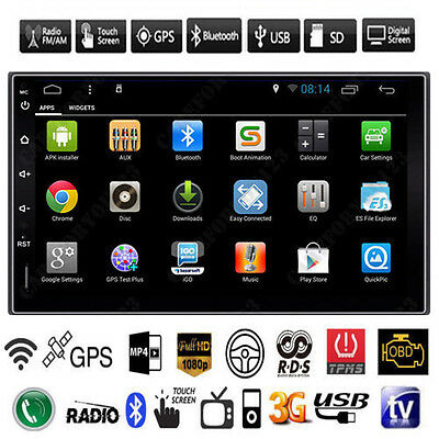 Android 4.4 Car Radio DVD Player Double 2 Din WIFI GPS Cam In Dash Vehicle Audio