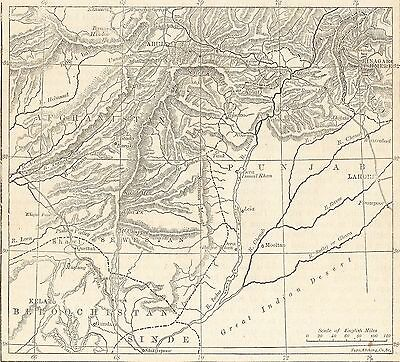 Antique Map, Afghanistan, Map Of Afghanistan 1898