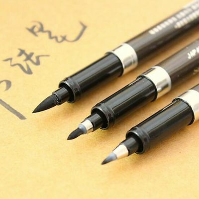 3 x Calligraphy Pens Material Brush Set Black Ink For Signature Art Crafts Draw