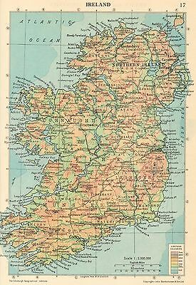 Vintage Colour Double Sided Map,ireland/france And The Low Countries 1950