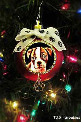 Boston Terrier Puppy Red-Painted Christmas Ball Ornament Pet Lovers Gift