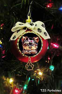 Yorkie Terrier Puppy Dog-Painted Christmas Ball Ornament Pet Lovers Gift