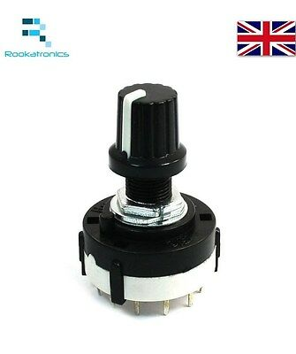4P3T Single Deck Rotary Switch Band Selector 4Pole 3 Position with Knob Black